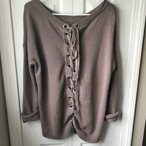 Mauve Tie Back Express Sweater